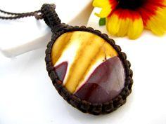 Aboriginal jewelry, Australia aboriginal, Mookaite Necklace, Mookaite jewelry,  necklace, Jasper pendant, Australia stone, Macrame