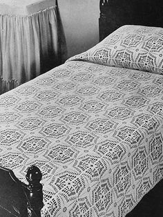 """Compass Bedspread A lovely crocheted bedspread is an heirloom to be treasured for many years to come. Size: Motif: 7"""" square. Twin: 64"""" x 92"""" (117 motifs -- 9"""" x 13""""). Double: 78"""" x 92"""" (143 motifs -- 11"""" x 13"""").  Skill Level: Intermediate"""