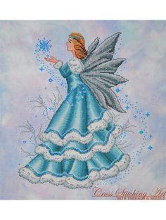 Celine, The Winter Fairy, cross stitch pattern uses Kreinik metallic threads. Beautiful!