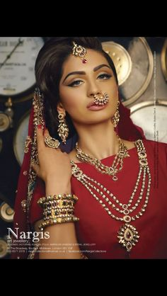 Photos and information of Nargis Collections. Beautiful jewellery by Nargis Collections brings you a bespoke range of jewelry and accessories to suit any bridal look Asian Bridal Jewellery, Indian Bridal Makeup, Indian Bridal Wear, Bridal Hair And Makeup, Bride Makeup, Pakistani Bridal, Bridal Lehenga, Indian Jewelry, Bridal Jewelry