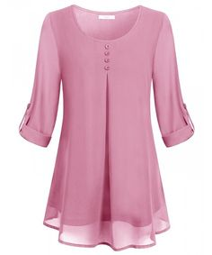 Buy Women's Roll-up Long Sleeve Round Neck Layered Chiffon Flowy Blouse Top . Buy Women's Roll-up Long Sleeve Round Neck Layered Chiffon Flowy Blouse Top - Pink - and shop more l Blouse Styles, Blouse Designs, Mode Abaya, Blouses For Women, Ladies Blouses, Chiffon Tops, Chiffon Blouses, Chiffon Shirt, Fashion Outfits