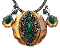 Roslyn Hoffman Copper Necklace & Earrings Set with Green Chrysophase Vintage | Jewelry & Watches, Vintage & Antique Jewelry, Costume | eBay!  #AntiqueJewelry