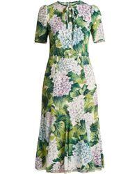 e034583c Dolce & Gabbana | Ortensia-print Fluted-hem Cady Dress | Lyst Silk Midi