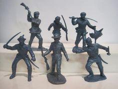 MARX ALAMO PLAYSET 6 VINTAGE 50s PIONEER FRONTIERSMEN METALLIC BLUE TOY SOLDIER #MARX