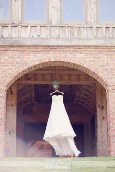 Dress in the arch at the barn