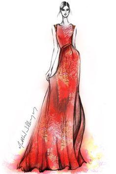 Matthew Williamson Illustration of a Christmas Gown