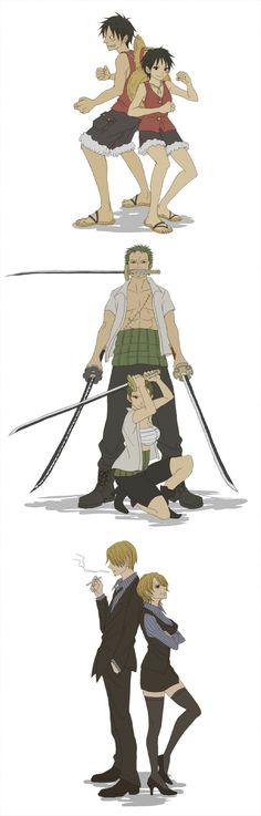 Genderbent Luffy, Zoro, and Sanji
