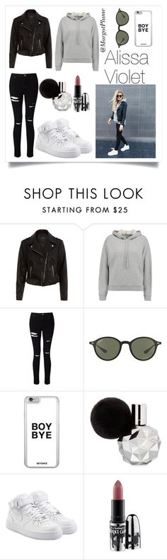 """Alissa Violet Look"" by margotplume ❤ liked on Polyvore featuring New Look, T By Alexander Wang, Miss Selfridge, Ray-Ban, NIKE and MAC Cosmetics"