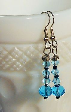 Handmade Beaded Blue Drop Earrings / Facetted by TheYellowHouse39