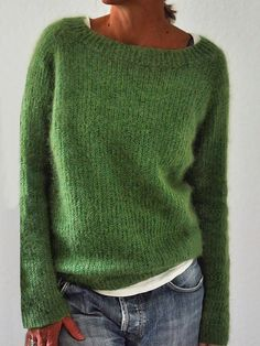 Solid Knitted Sweaters Plus Size Pullovers Jumpers : Green Crew Neck Long Sleeve Sweater – wegochic Casual Sweaters, Pullover Sweaters, Sweaters For Women, Women's Sweaters, Pullover Pullover, Vintage Sweaters, Knitting Sweaters, Oversized Sweaters, Winter Sweaters