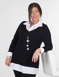 Plus size Madison black/white shirt/jumper