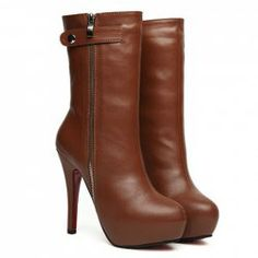 $26.50 Stylish Women's Mid-Calf Boots With Solid Color and Zipper Design