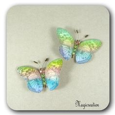 DUO MAGNETS PAPILLONS SOIE MULTICOLORE TESS - Boutique www.magicreation.fr