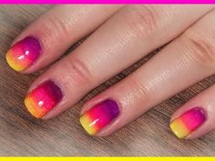 Neon Rainbow/Ombre Nails for Summer - Nail Tutorial - YouTube
