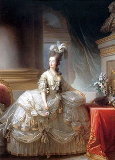 This is a painting of Marie Antoinette. Marie Antionette heightened the rococo style through her luxurious dress and hair. Her clothing consisted of a lot of panniered, plunge-necked, stiffly corseted gowns. Although women wanted to dress and have their hair just like Marie Antionette, people thought the queen was creating financial problems for all the women of France.