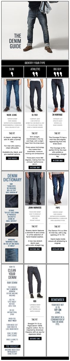 Besides denim, only leather has the ability to age so beautifully which is why taking your time to find the right brand for you is so crucial. Fortunately, we've got Nudie Jeans. Mode Outfits, Jean Outfits, Look Fashion, Mens Fashion, Fashion Tips, Fashion Clothes, Fashion Menswear, Work Motivational Quotes, Quotes Quotes