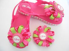 Personalized Boutique Flip flops by AllThingsGirlyBows on Etsy, $20.00