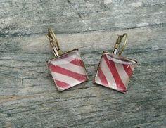 Red Tan Striped Earrings, Antique Bronze pierced tile type. $8.00, via Etsy.