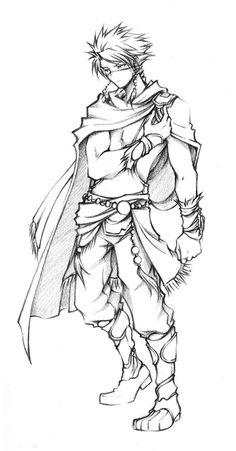 Dissidia Edward 'Edge' Geraldine Sketch by isaiahjordan