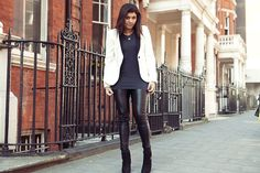 Bonnie Rahkit - ELLE Market and Merchandising Editor Zara jacket, Acne tshirt, Zadig & Voltaire leggings, Kat Maconie boots