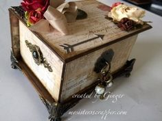 Beautiful Altered Box and Mini Tag Album--side view.