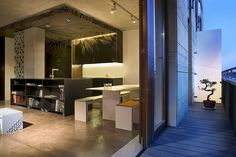 Great integration of graphics, lighting, and kitchen cabinets.