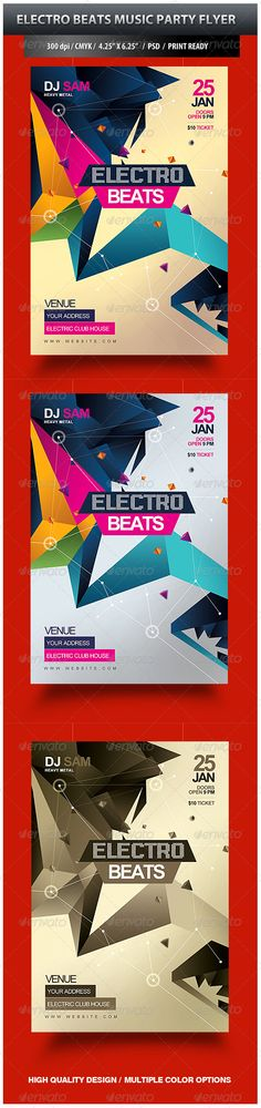 Electro Beats Music Party Flyer — Photoshop PSD #colorful #electronic • Available here → https://graphicriver.net/item/electro-beats-music-party-flyer/3795695?ref=pxcr