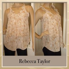 Rebecca Taylor Top Creme colored halter top with ruffled v-neck collar and arm openings. Leopard print and delicate sequin on front only. 100% Silk Rebecca Taylor Tops