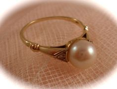 Vintage GOLD PEARL RING 14k Gold Pearl & Diamond Ring 6mm Cultured Pearl Size 6 Art Deco Era S. Kind and Sons Phila