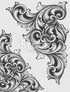 Engraved Corner Scrolls Royalty Free Stock Vector Art Illustration