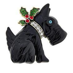 "Heidi Daus ""FALA-LA-LA-LA"" Resin and Crystal Pin Vintage Costume Jewelry, Vintage Costumes, Little Dolly, Animal Jewelry, Jewelry Art, Jewellery, Westies, Dog Design, Puppy Love"