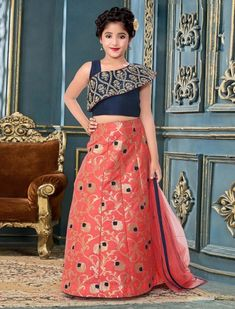 Navy and pink designer lehenga choli Chaniya Choli For Kids, Kids Lehenga Choli, Choli Dress, Baby Girl Dress Patterns, Baby Dress Design, Frock Design, Kids Dress Wear, Kids Gown, Kids Wear