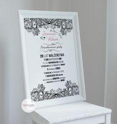 Plakat na rocznicę ślubu  #walentynki #love #wedding #rocznica #valentinesday #anniversary #memorabli #handmade #plakaty #poster #nasciane #dekoracjapokoju #maż #żona #certyfikat Origami, Dreams, Diy, House, Bricolage, Home, Origami Paper, Diys, Haus