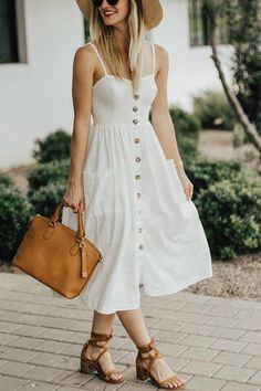 Made to Love Button Down Midi Dress - UnikWe Boutique Maxi Outfits, Summer Dress Outfits, Casual Dresses, Fashion Dresses, Dress Summer, White Dress Outfit, Below The Knee Dresses, Sunday Clothes, Look Fashion
