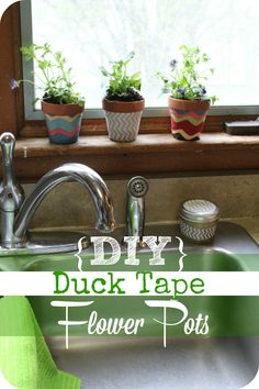 Looking for a super easy gift idea? Make this set of custom flower pots for under $5.00 with duck tape!