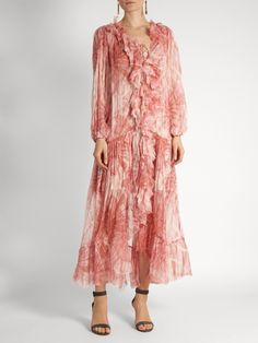 Zimmermann Winsome tie-dye silk-georgette ruffled dress