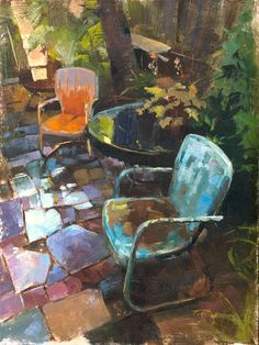 Patrick Saunders Fine Arts - Landscape Painting - Oil on Panel - Warm Chairs, Wet Patio