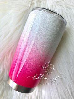 Hot Pink Glitter Ombré Personal Tumbler - Yeti - S Diy Tumblers, Personalized Tumblers, Custom Tumblers, Glitter Tumblers, Custom Mugs, Glitter Cups, Pink Glitter, Glitter Slime, Glitter Hair