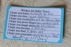 Wishes for Baby for shower activity