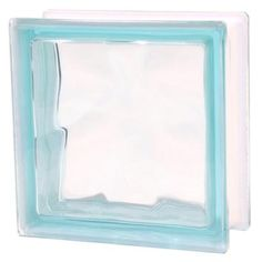 TAFCO WINDOWS 7-1/2 in. x 7-1/2 in. x 3-1/8 in. Turquoise Color Wave Pattern Glass Block 5/CA