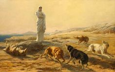 Pallas Athena and  the Herdsman's Dogs - Briton Riviere  - have to find the myth    Briton Riviere