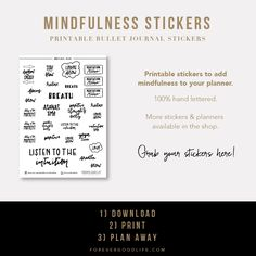Hand lettered Planner Stickers - Mindfulness theme - ForeverGoodLife