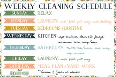 weekly cleaning schedule printable