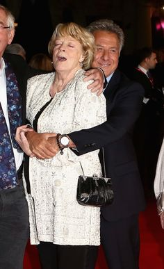The Dowager Countess making this face while getting hugged by Dustin Hoffman: