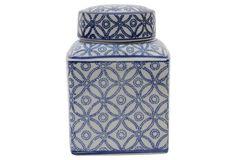 Tall Auhert Jar, Blue/White