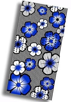 "Custom & Luxurious {30"" x 60"" Inch} 1 Single Large & Thin Soft Summer Beach & Bath Towels Made of Quick-Dry Cotton w/ Nautical Tropical Cobalt Cerulean Hibiscus Coastal Souvenir Style [Multicolor]"