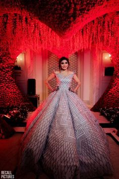 Looking for Stunning silver gown for cocktail function? Browse of latest bridal photos, lehenga & jewelry designs, decor ideas, etc. Indian Wedding Gowns, Indian Bridal Outfits, Beautiful Wedding Gowns, Indian Gowns, Indian Wear, Bridal Dresses, Desi Wedding, Indian Weddings, Wedding Bride