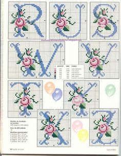 Rose Alphabet cross stitch alphabet 3 of 3 Cross Stitch Letters, Cross Stitch Love, Cross Stitch Flowers, Cross Stitch Charts, Cross Stitch Designs, Embroidery Alphabet, Embroidery Monogram, Ribbon Embroidery, Cross Stitch Embroidery