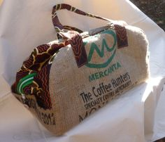 Upcycled Hessian Weekend Travel bag.. £105.00, via Etsy.