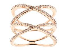 18kt Rose Gold Double X Diamond Ring Style ID#10548